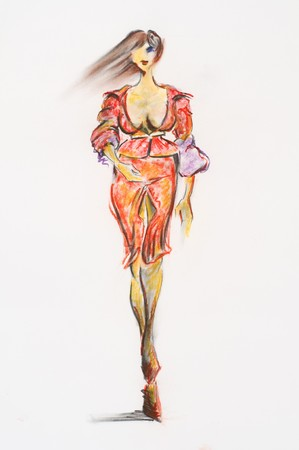 Sketch of woman dressed in tendy fashion, done by me with pastel and oil paintings Stock Photo - 8184073