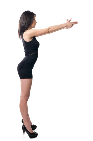 mujer con pistola: Ni�a morena apuntando imaginaria pistola con sus dedos  Foto de archivo