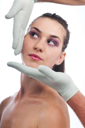 Woman having beauty treatment on face, plastic surgery of silicone, focus on lips photo
