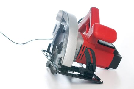 circular saw: Electrical circular saw on white, not isolated Stock Photo