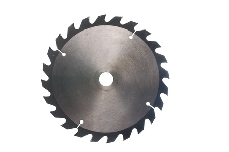 A circular saw blade isolated on a white background. Stock Photo