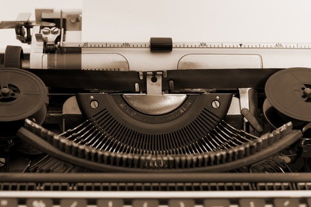 Old typewriter with sepia color