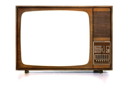 television antigua: Vista de cosecha frontal TV con pantalla de blanco en blanco