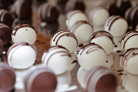 Cake balls pops, sweet round cakes Stock Photo