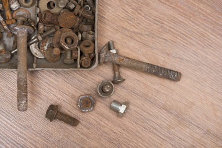 Rusty screw and nuts, corrosion bolt Stock Photo