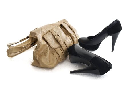 fetish wear: Female high heels shoes with woman bag
