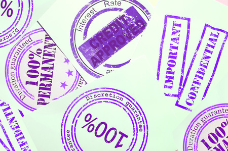 discretion: Print of rubber stamps with text on its