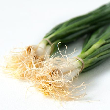 scallions: Fresh scallions on white Stock Photo