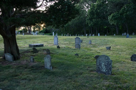 churchyard: Grave stones in churchyard at twilight