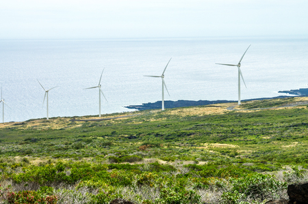 Five windmills on the green slopes of Haleakala on the island of Maui, Hawaii