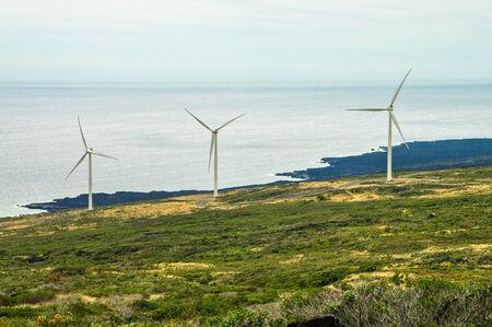 Three windmills on the green slopes of Haleakala on the island of Maui, Hawaii Stock Photo