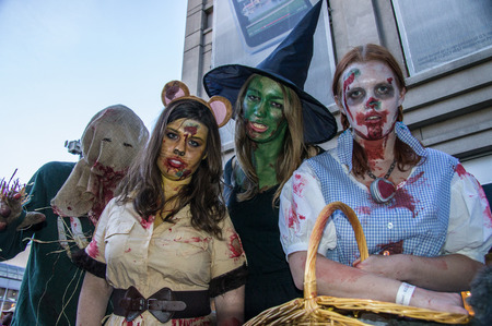 Zombies from the Wizard of Oz invade the 16th St. Mall in Denver, Colorado on October 19, 2013