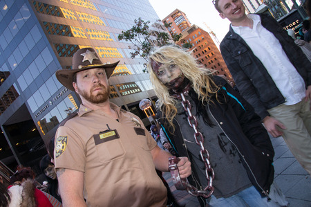 denver 16th street mall: Walking Dead invade the 16th St. Mall in Denver, Colorado on October 19, 2013