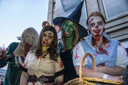 Zombies invade the 16th St. Mall in Denver, Colorado on October 19, 2013