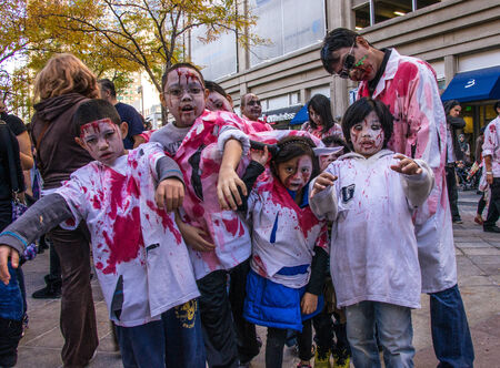 denver 16th street mall: Zombies invade the 16th St. Mall in Denver, Colorado on October 19, 2013
