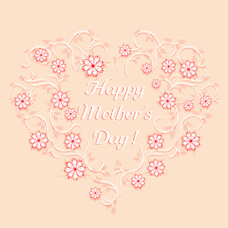 the patterns: Happy mother39s day template. Floral heart
