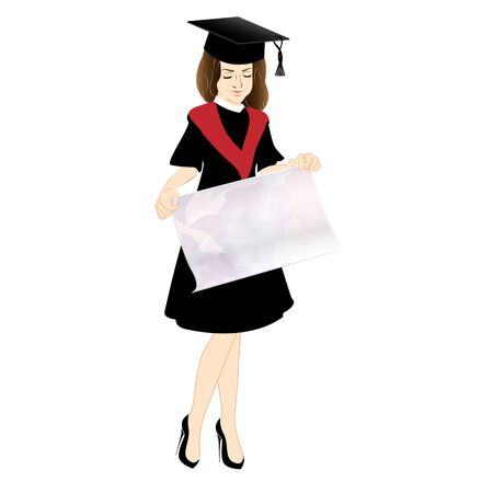 cap and gown: Happy Graduation. Young female isolated on white background. Student  in Cap and Gown with a poster.