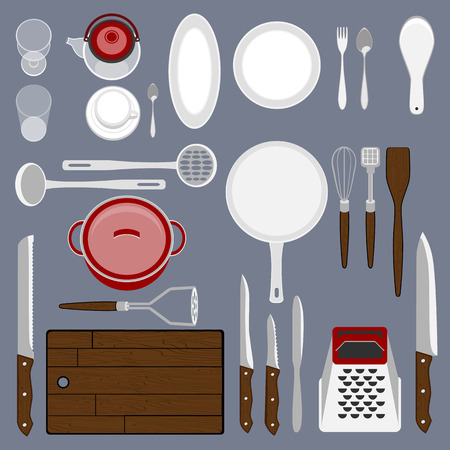 kitchenware: Kitchenware set. Cooking workplace.