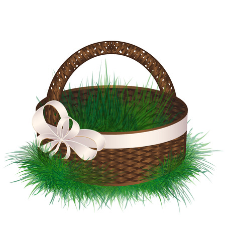 wattled: Empty wicker basket decorated ribbon with bow. Illustration