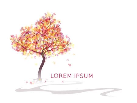 Kleurrijke abstracte boom. Herfstkleuren. Bladeren vallen. Achtergrond met plaats voor inscriptie. Vector,