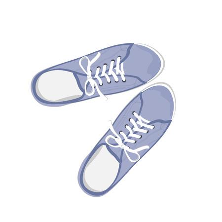 vista desde arriba: Gumshoes deporte azules. Ilustraci�n realista plana aislada en el fondo blanco. Vista desde arriba