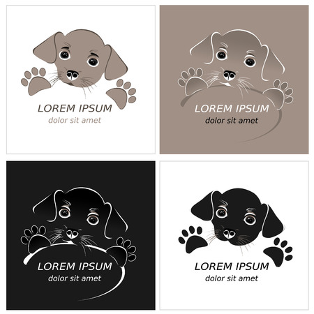 puppy love: Cartoon cute outline dog. Contour puppy. Vector logo template. Illustration