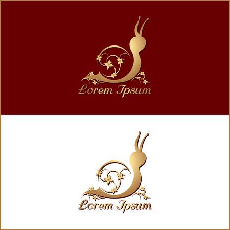 Vintage silhouette of snail. Elegant, golden, isolated logo for spa, cosmetics or restaurant