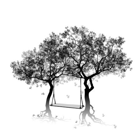 between: Silhouette of trees and swing between the trees. Abstract gray trees. Fall foliage. Vector, EPS 10 Illustration