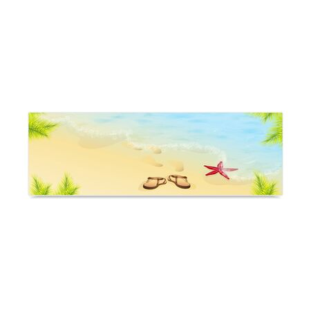 sand beach: Tropic Island, sand beach and azure sea. Vacation and travel. Concept of advertising banner. Vector, EPS 10