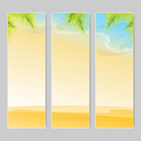sand beach: Set of three vertical banners. Tropic Island, sand beach and azure sea. Vector, EPS 10