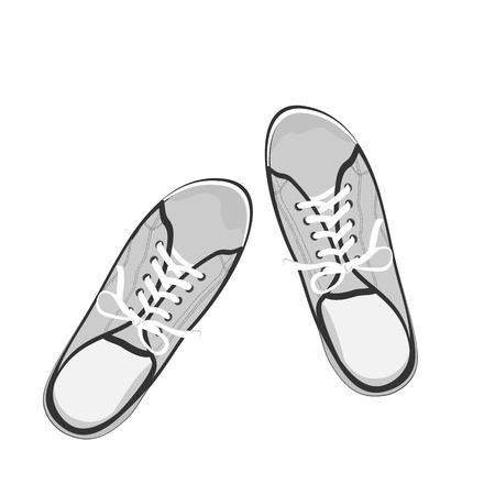 vista desde arriba: , Gumshoes deporte grises en blanco y negro. Ilustraci�n realista plana aislada en el fondo blanco. Vista desde arriba Vectores