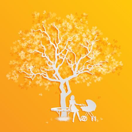 perambulator: La maternit� e l'infanzia. Donna con carrozzina nel parco. Vector, EPS10