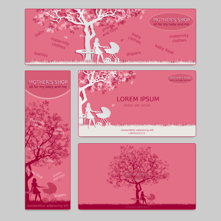 awaiting: Set of two business card and two banners for shop. Mothers store. Baby shop. Vector, EPS 10