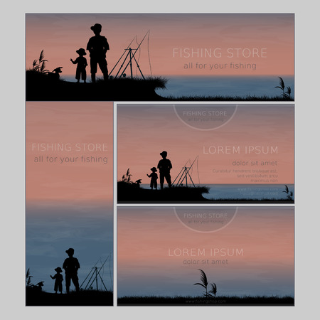 and father: Set of two business card and two banners for fishing store or shop. Father and son. Vector, EPS 10