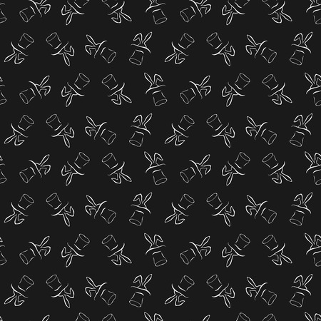 abracadabra: Seamless pattern with cartoon cute outline rabbit in the hat