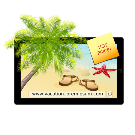 A vector illustration of tablet-pc with seascape. Vacation concept. Vector, EPS 10 Illustration