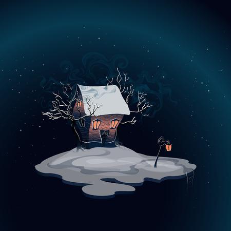 sky lantern: Paysage d'hiver avec maison de briques sur l'�le. Lumi�re dans les fen�tres. Arbres enneig�s. Lanterne pr�s de la route. Escalier � l'ab�me. Paysage nocturne. Ciel nocturne et la neige. Vector, EPS 10