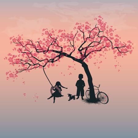 タイヤのブランコに乗って遊んでいる子供たち。少年は、少女と犬の木の下で。春。桜の花