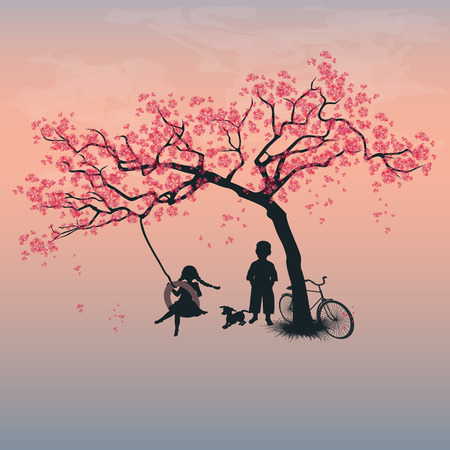 Kinder auf einem Reifen-Schaukel spielen. Junge, Mädchen und Hund unter dem Baum. Frühling. Kirschblüten