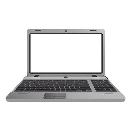 silver screen: Silver laptop. Screen display. Computer isolated on white. Useful for your presentation. Vector, EPS 10