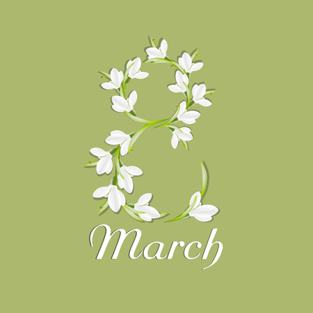 symbol woman: Congratulation or greeting card for womens day. Happy womens day. The international womens day. 8 March. Greeting background with snowdrops. Vector, EPS 10 Illustration