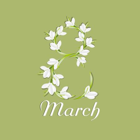 simbolo de la mujer: Enhorabuena o tarjeta de felicitaci�n para el d�a de la mujer. Feliz d�a de la mujer. D�a internacional de mujeres. 8 de marzo. Saludo de fondo con copos de nieve. Vector, EPS 10