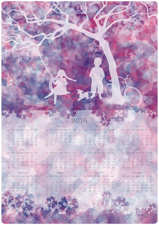 boy girl: Calendar design. 2016 year. Children playing on a tire swing. Boy, girl and dog under the tree. Abstract background. Vector, EPS 10