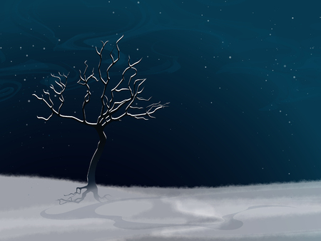 fall scenery: Winter landscape with white abstract snow-covered tree and fall snow. Night scenery. Template with place for inscription. Vector, EPS 10 Illustration