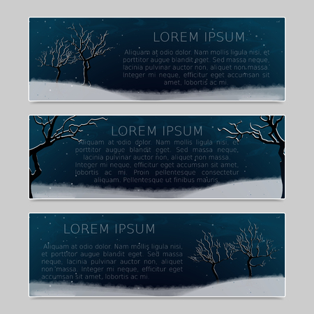 fall scenery: Winter landscape with white abstract  snow-covered trees and fall snow. Night scenery. Set of three banners with place for inscription. Vector, EPS 10