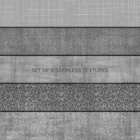 Set of five seamless relief texture of stone, asphalt, concrete and marble.