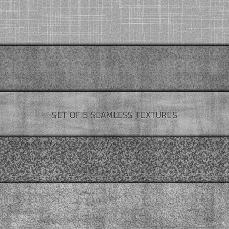 Set di cinque seamless texture in rilievo di pietra, asfalto, cemento e marmo.