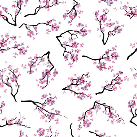 the tree to blossom: Seamless pattern with branches of blooming cherry-tree isolated on white background. Abstract blooming cherry-tree. Watercolor imitation.