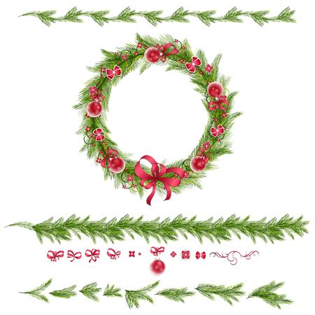 green bow: Christmas wreath with christmas balls, abstract flowers. Christmas borders. Set of christmas pine twigs and holiday decorations: balls, tapes and bows.