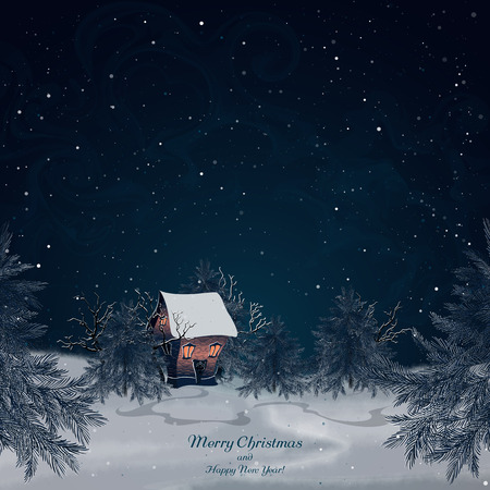 Winter landscape with brick house in the forest. Light in the windows. Snow-covered trees and spruces. Night scenery. Night sky and snow. Christmas background. Vector, EPS 10 Illustration